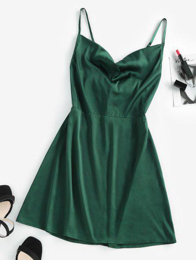ZAFUL Back Tie Satin Cami Dress - Dark Green Xl
