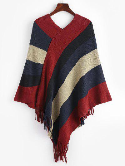 Asymmetrical Striped Colorblock Fringed Poncho Sweater - Deep Red M