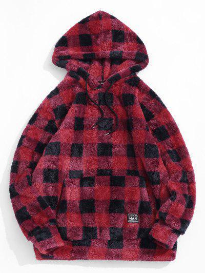 ZAFUL Plaid Pattern Fluffy Hoodie - Red L