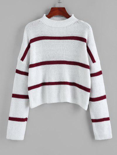 ZAFUL Striped Mock Neck Drop Shoulder Sweater - White S