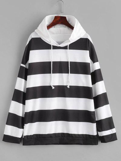 Two Tone Striped Drop Shoulder Hoodie - White M