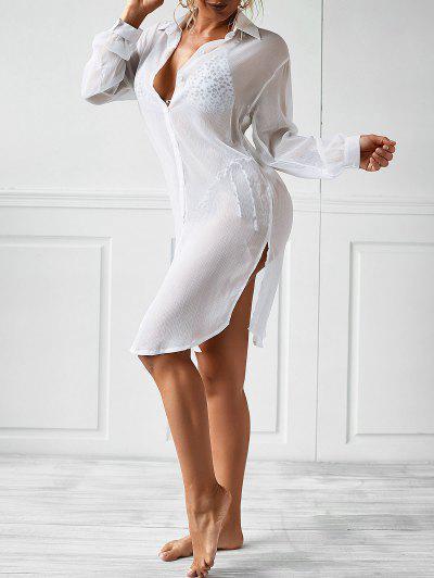 Camisa De Chiffon Com Fenda Lateral - Branco S