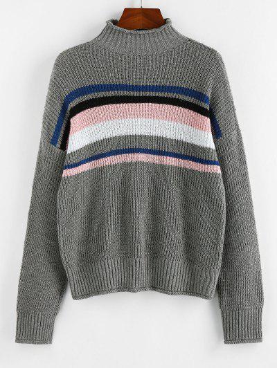 ZAFUL Striped High Neck Rolled Trim Sweater - Gray L