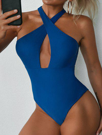 ZAFUL Crisscross Cut Out One-piece Swimsuit - Blue M