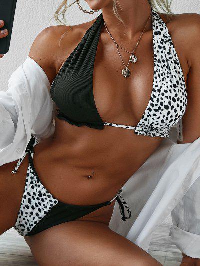 ZAFUL Plunge Dalmatian Dot Print Self Tie Bikini Swimwear - Black M