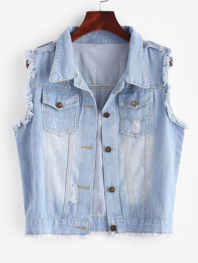 Frayed Light Wash Ripped Denim Vest - Light Blue S