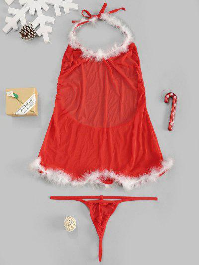 Christmas Mesh Sheer Sexy Feather Lingerie Set - Red M