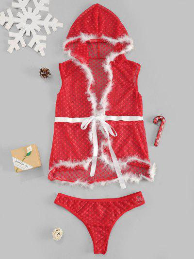 Christmas Lace Hooded Feather Sexy Lingerie Set - Red M