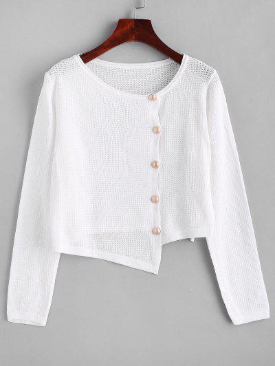 Asymmetrical Rolled Trim Pointelle Knit Cardigan - White