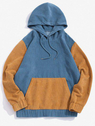 Two Tone Patchwork Corduroy Hoodie - Blue S