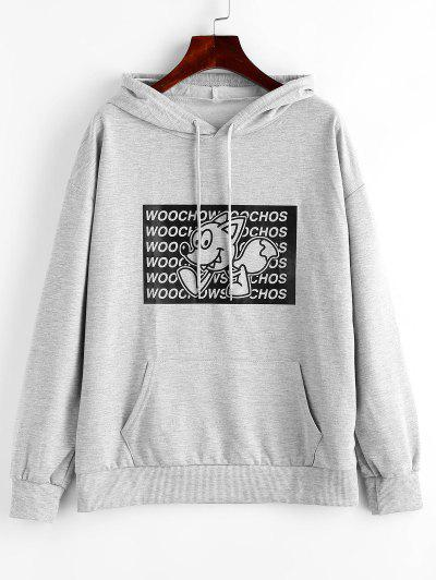 Letter Cartoon Graphic Front Pocket Hoodie - Gray Goose L