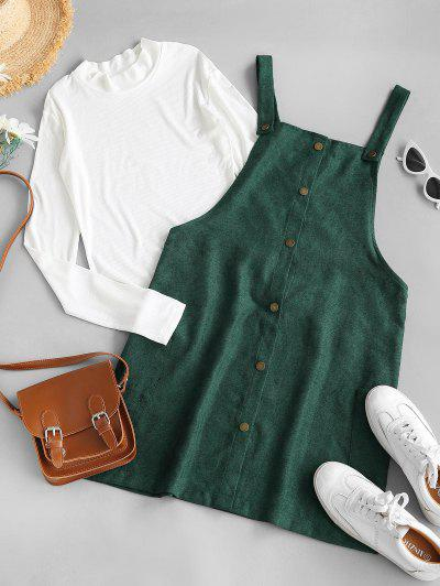 Rib-knit Top And Corduroy Overall Dress - Green M
