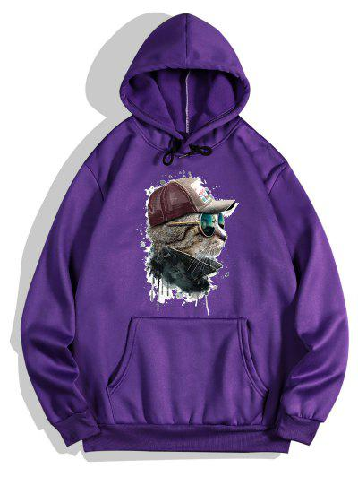 Front Pocket Cat Paint Print Fleece Hoodie - Purple Iris 2xl
