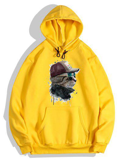 Front Pocket Cat Paint Print Fleece Hoodie - Bright Yellow M