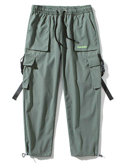 Letter Embroidered Buckle Strap Toggle Drawstring Cargo Pants - Light Green Xl