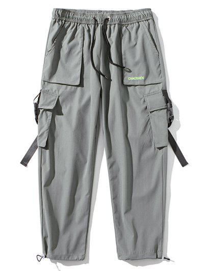 Letter Embroidered Buckle Strap Toggle Drawstring Cargo Pants - Light Gray L