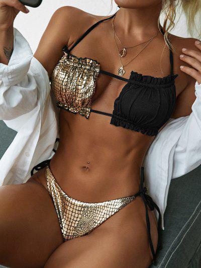ZAFUL Bikini Bandeau Acanalado De Piel De Serpiente - Negro S