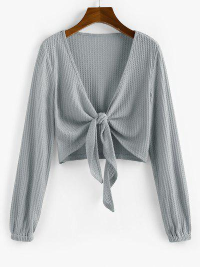 ZAFUL Knot Front Ribbed Cropped Cardigan - Gray Goose S
