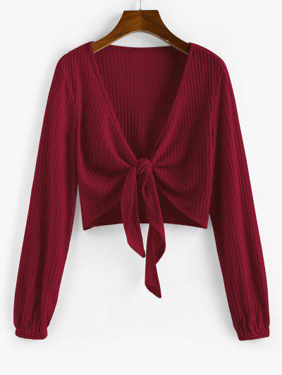 ZAFUL Knot Front Ribbed Cropped Cardigan - Red Wine M