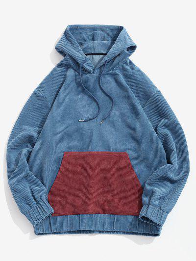 Colorblock Patchwork Pocket Corduroy Hoodie - Deep Blue S