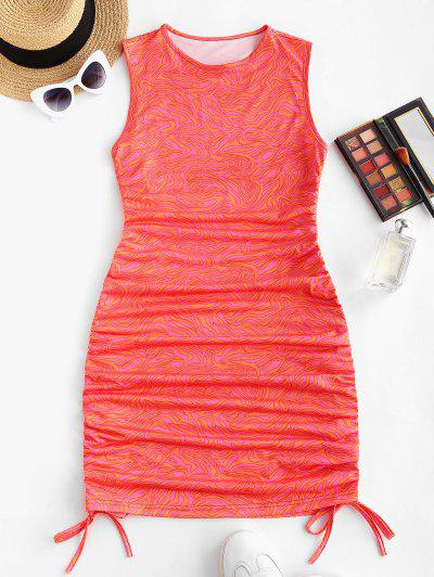 Cinched Abstract Print Sleeveless Bodycon Dress - Red L