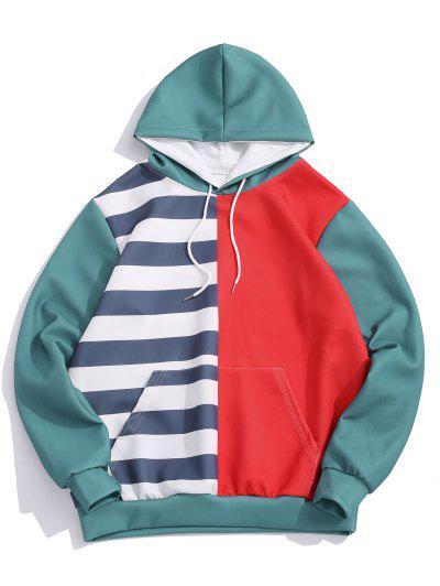 Striped Contrast Print Kangaroo Pocket Hoodie - Ruby Red M