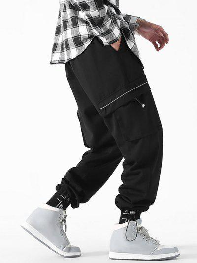 Drawstring Ankle Patch Design Cargo Pants - Black S
