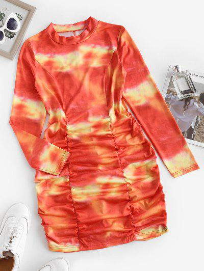 Tie Dye Ruched Bodycon Long Sleeve Dress - Red M