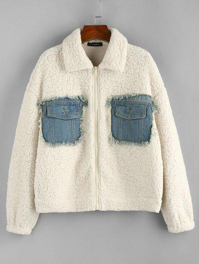 ZAFUL Denim Patchwork Drop Shoulder Teddy Coat - White M