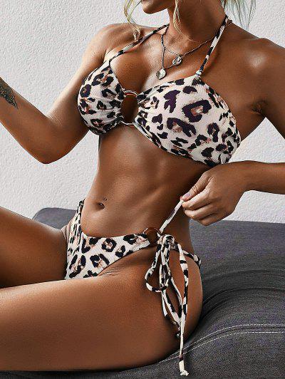 ZAFUL O Ring Leopard Print Self Tie Bikini Swimwear - Black M