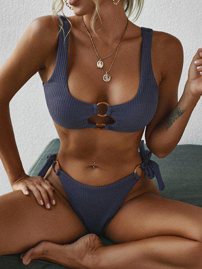 ZAFUL Ribbed Ring Ties Tank Bikini Swimwear - Deep Blue M