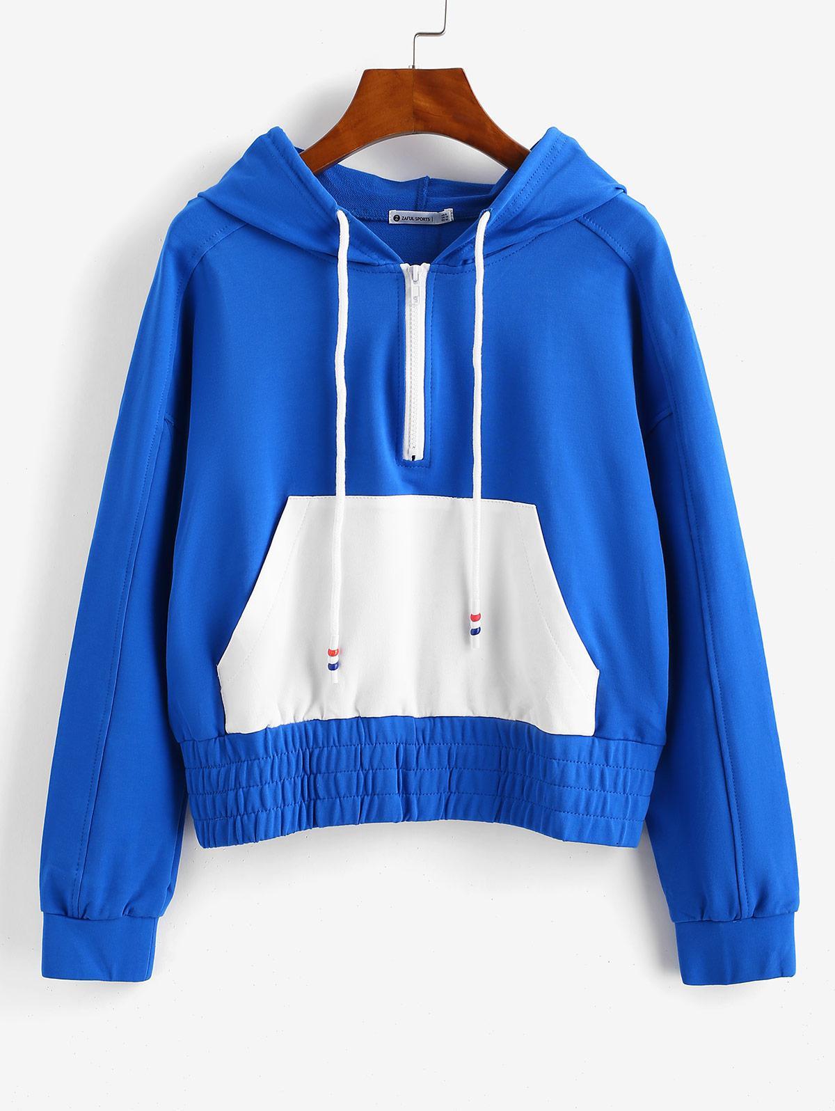 ZAFUL Raglan Sleeve Half Zip Pocket Hoodie
