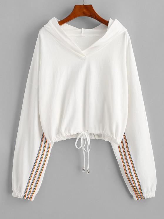 women Drawstring Hem Colorful Stripes Hoodie - WHITE ONE SIZE