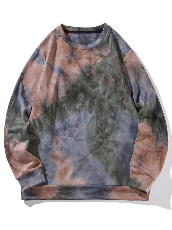 hot Colorful Tie Dye Printed Sweatshirt - PUCE L