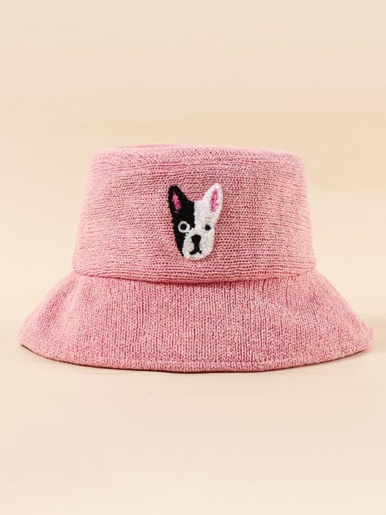 sale Embroidered Puppy Pattern Bucket Hat - LIGHT PINK