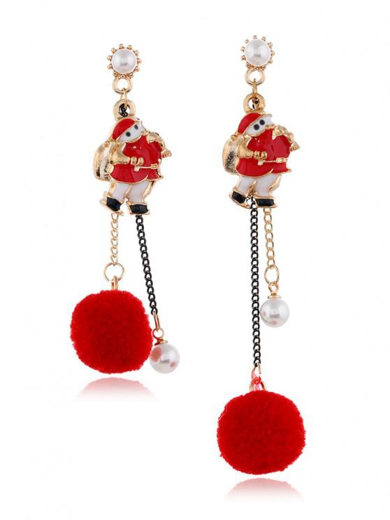 Christmas Asymmetrical Pom Pom Earrings - أحمر