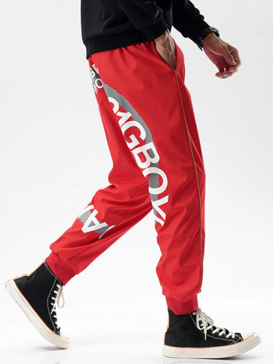 fashion Striped Letter Paint Pattern Beam Feet Pants - RED M