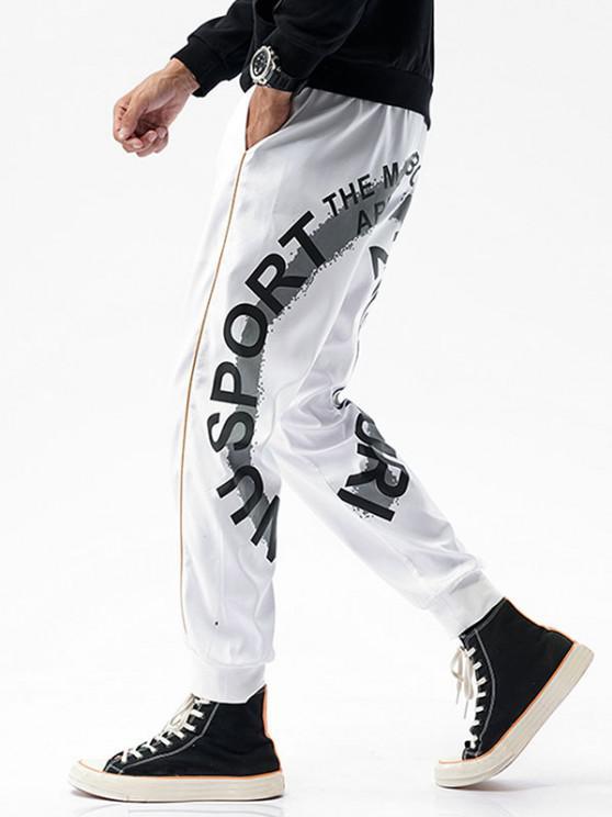 Pantalones Rayados Estampado Letras - Blanco XS