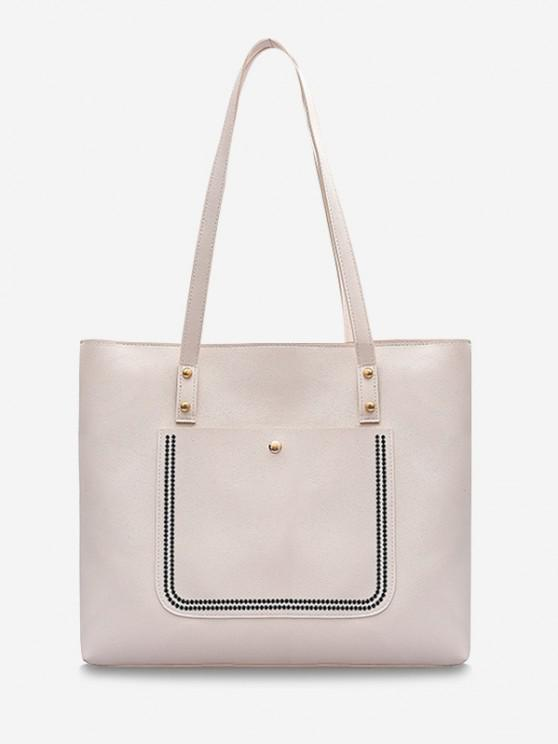 sale Large Capacity Pure Color Tote Bag - MILK WHITE