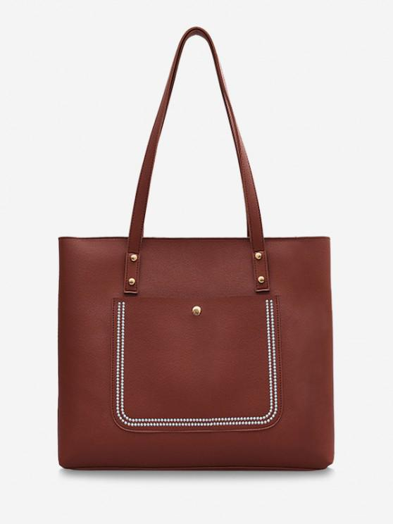 affordable Large Capacity Pure Color Tote Bag - BROWN