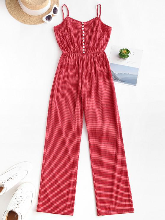 affordable Striped Button Loop Cami Lounge Sleep Jumpsuit - RED M