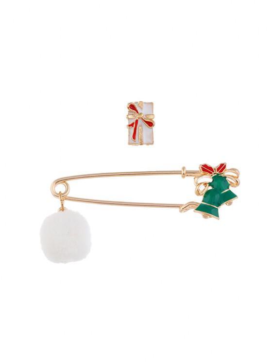2Pcs Christmas Pom Pom Brooch Set - متعددة D