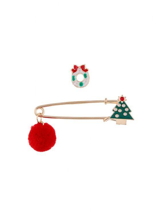 2pcs Weihnachten Pom Pom Brosche Set - Multi-G