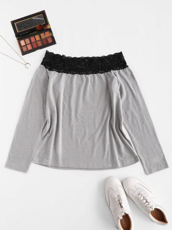 women Lace Off Shoulder Long Sleeve Slim Tee - GRAY L