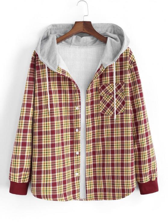 lady Hooded Plaid Print Pocket Flannel Fleece Jacket - RED L