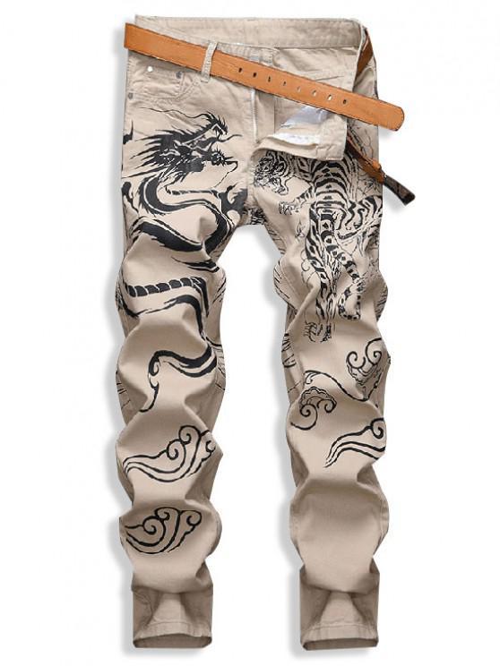Tiger And Dragon Mountain Print Denim Pants - القهوة الخفيفة 32