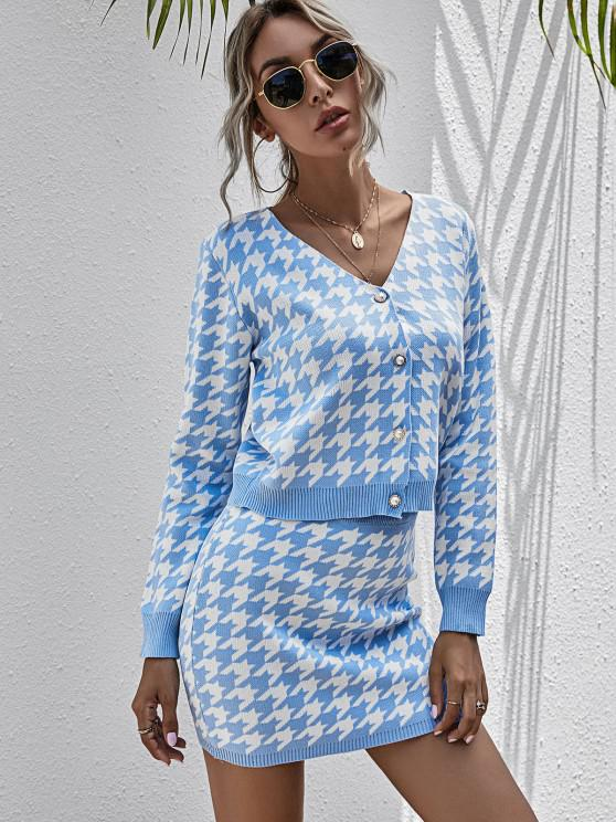buy Houndstooth Cardigan and Mini Skirt Two Piece Set - LIGHT BLUE L