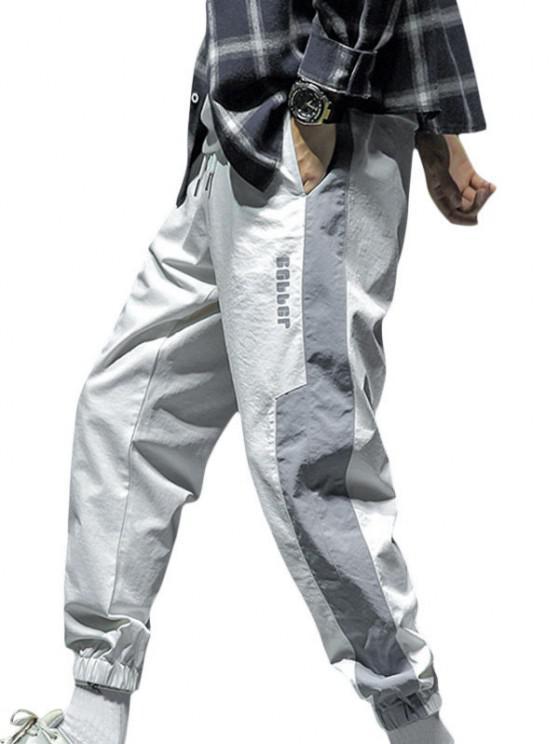Letter Print Drawstring Contrast Jogger Pants - أبيض L