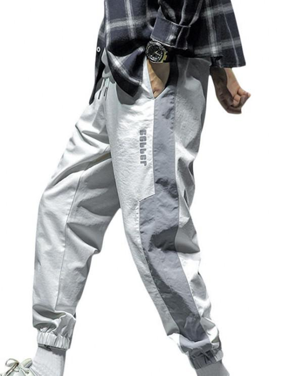 Kontrast Jogger Hose mit Buchstabendruck und Tunnelzug - Weiß S