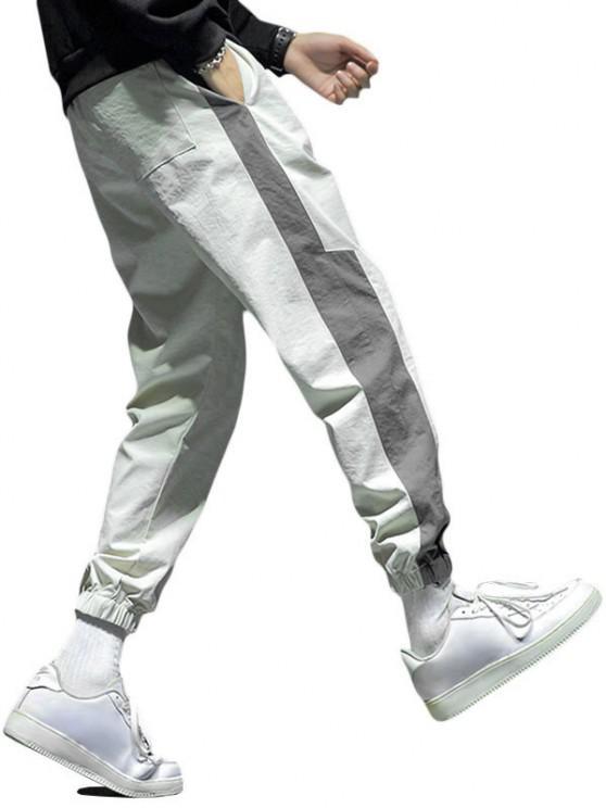Letter Print Drawstring Contrast Jogger Pants - اللون الرمادي XS